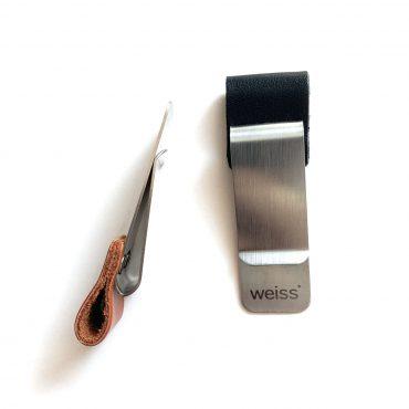 SCHWARTZ – Stiftehalter aus Leder+Metall