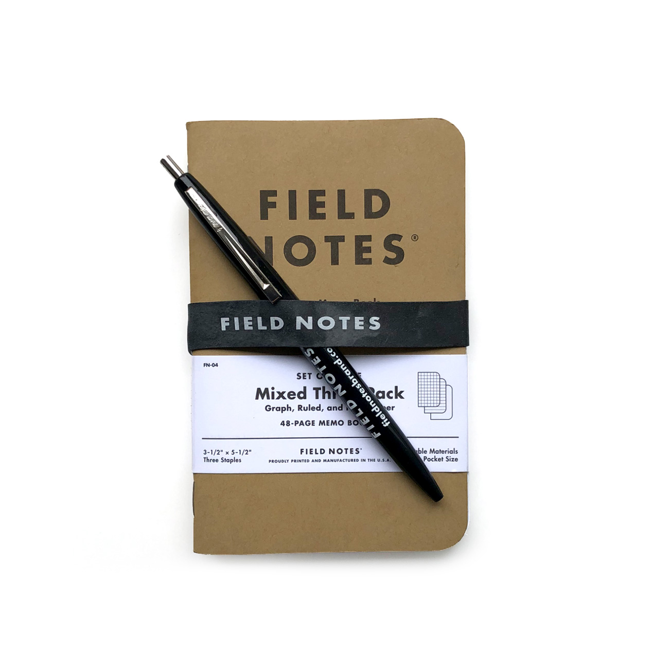 Field Notes Starter-Set, Mixed, Kuli, Gummiband,
