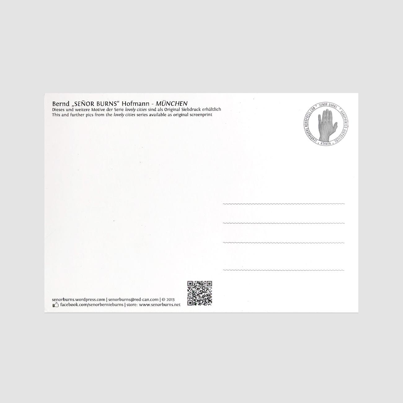 München Postkarte, Rückseite, Senior Burns,