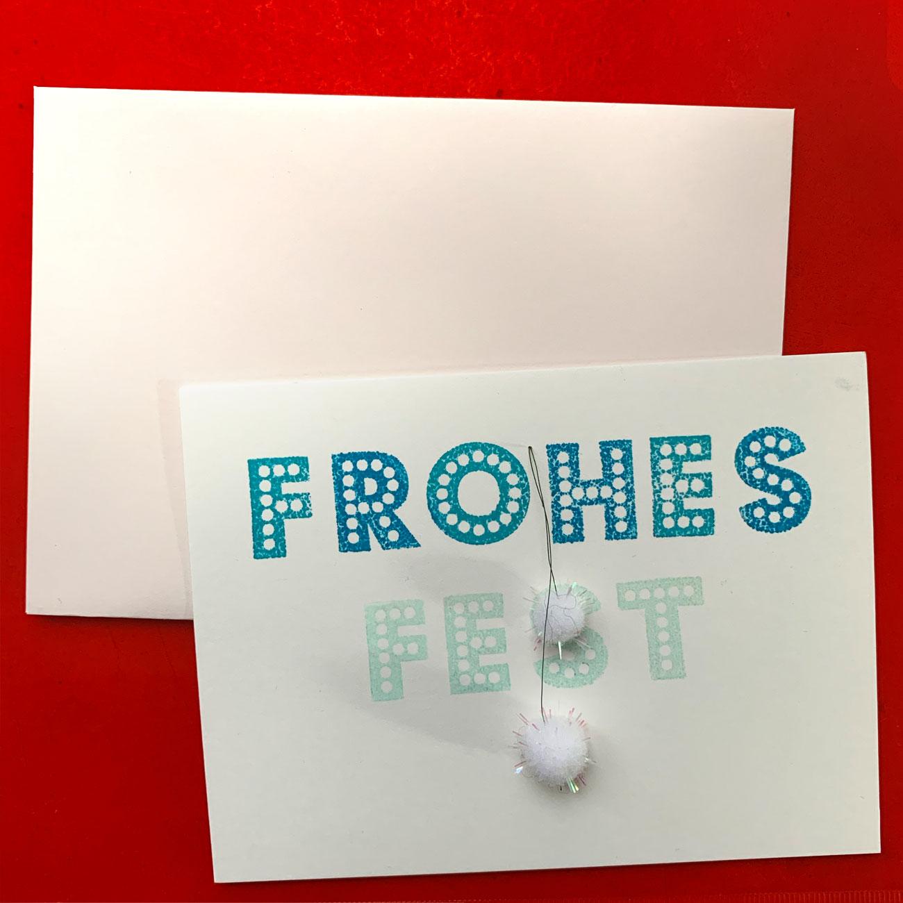 Frohes Fest,3, Klappkarte mit 2 Bommeln, mit Kuvert, festlich,