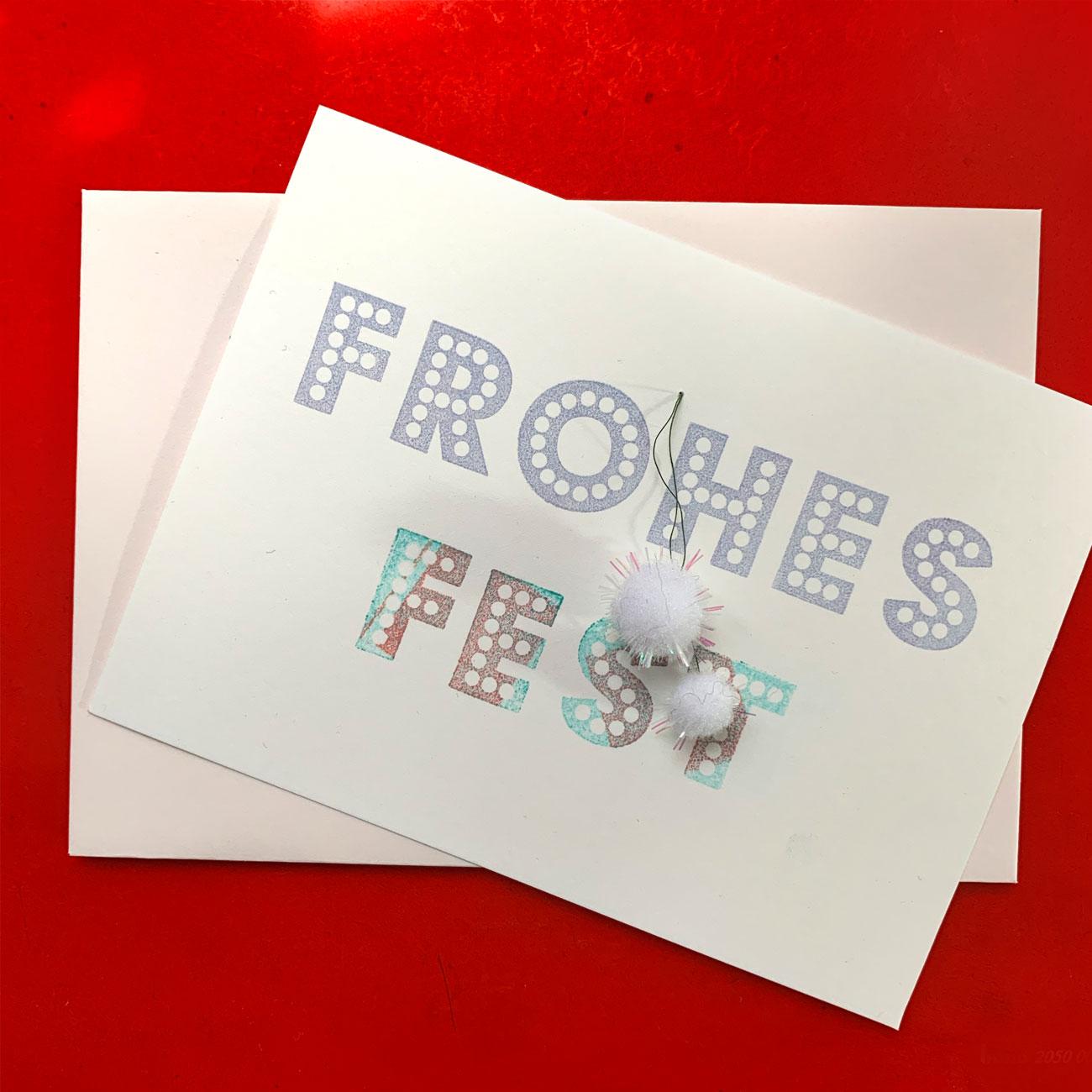 Klappkarte Frohes Fest, mit 2 Bommeln, mit Kuvert, festlich