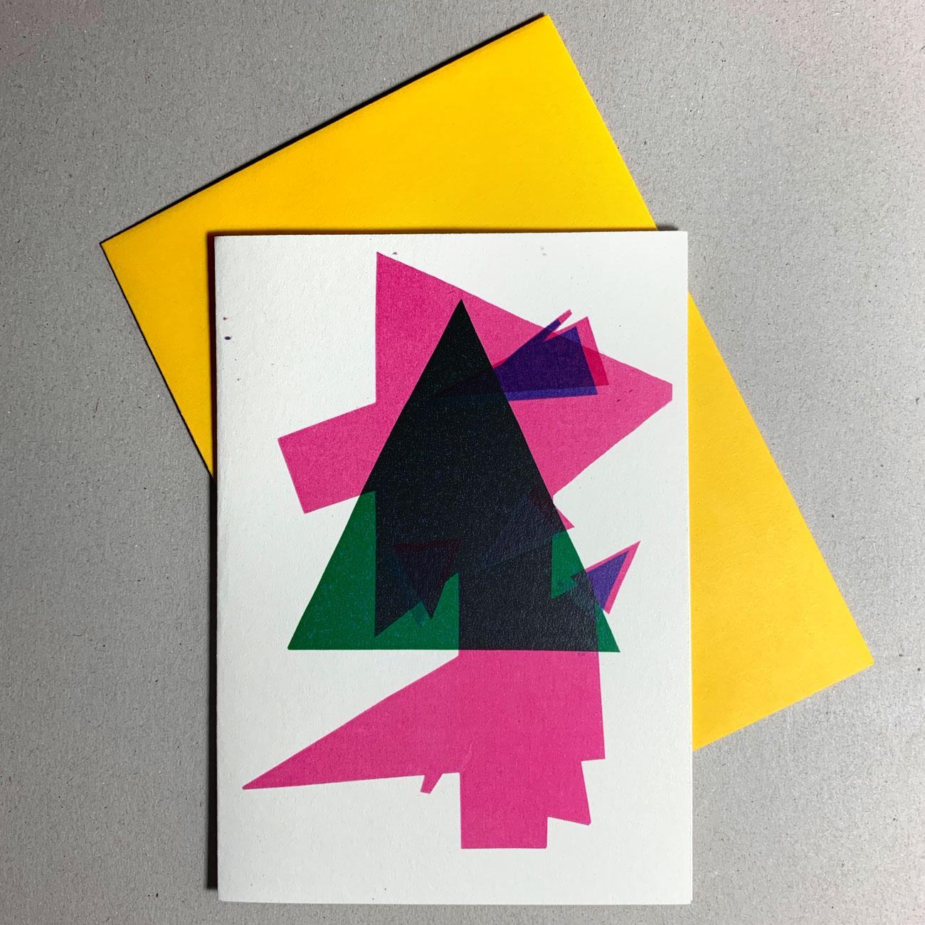 Klappkarte grafischer Baum, magenta-farben, grün, gelbes Kuvert