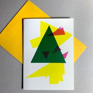 UMWERK – Klappkarte BAUM GRAFISCH gelb