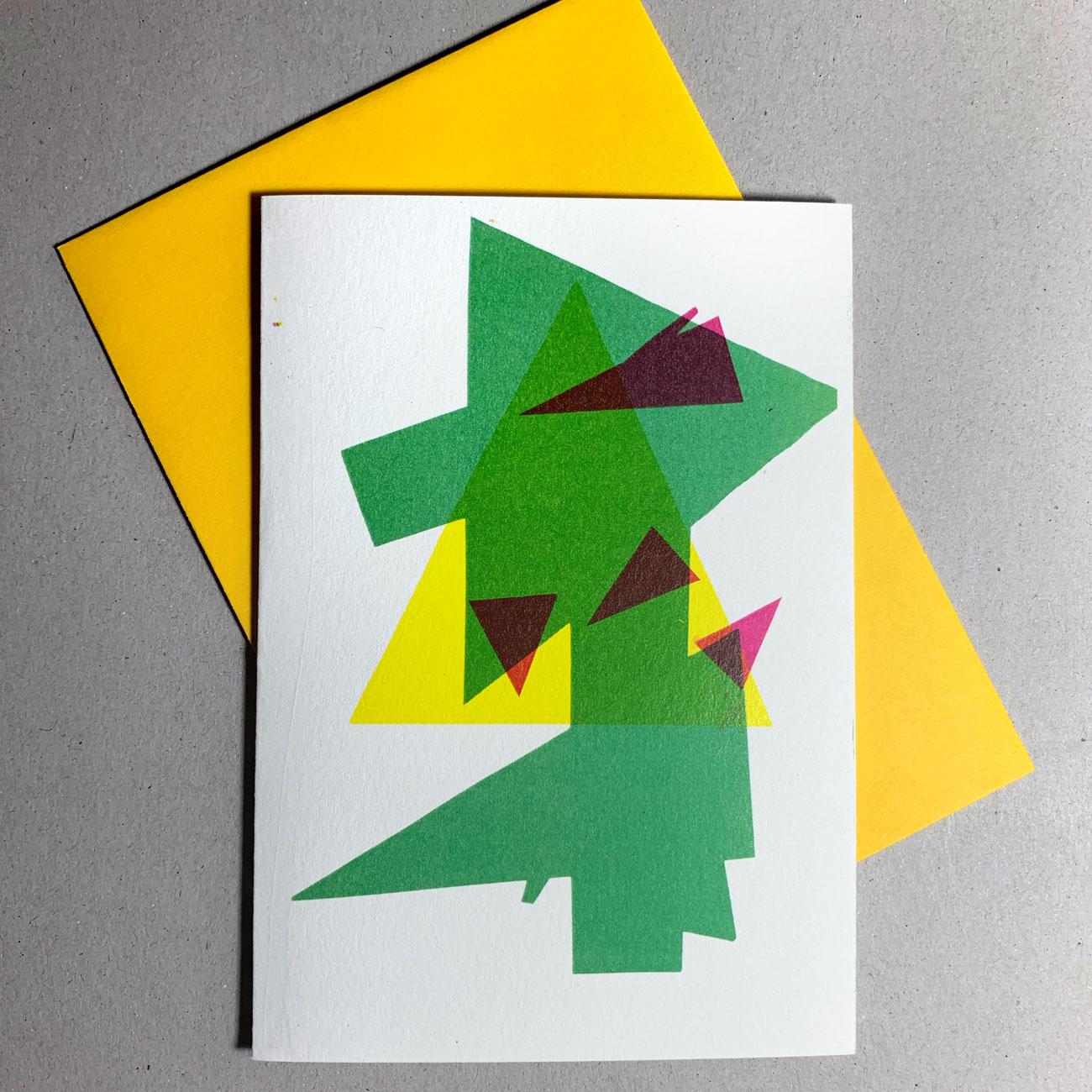 Klappkarte grafischer Baum, gelbes Kuvert, individuell