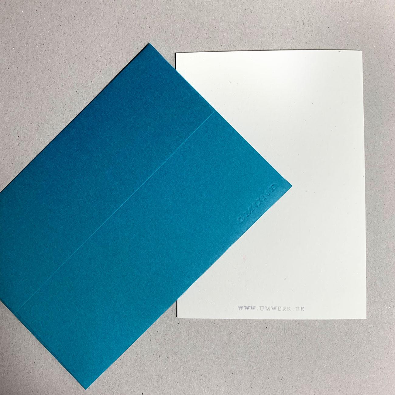 Klappkarte grafischer Baum, Rückseite, blaues Kuvert,