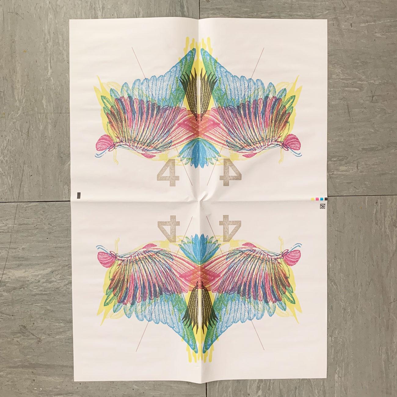 Geschenkpapier, Vier, Muster, Flügel, farbig,