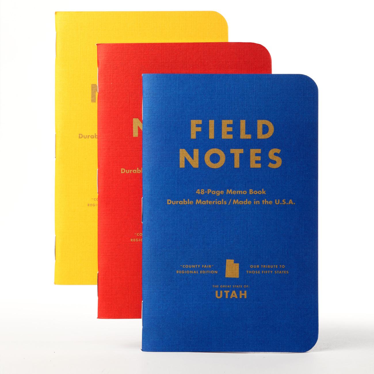 Field Notes, County Fair, 3er-Set, Notizhefte, blau, rot, gelb,