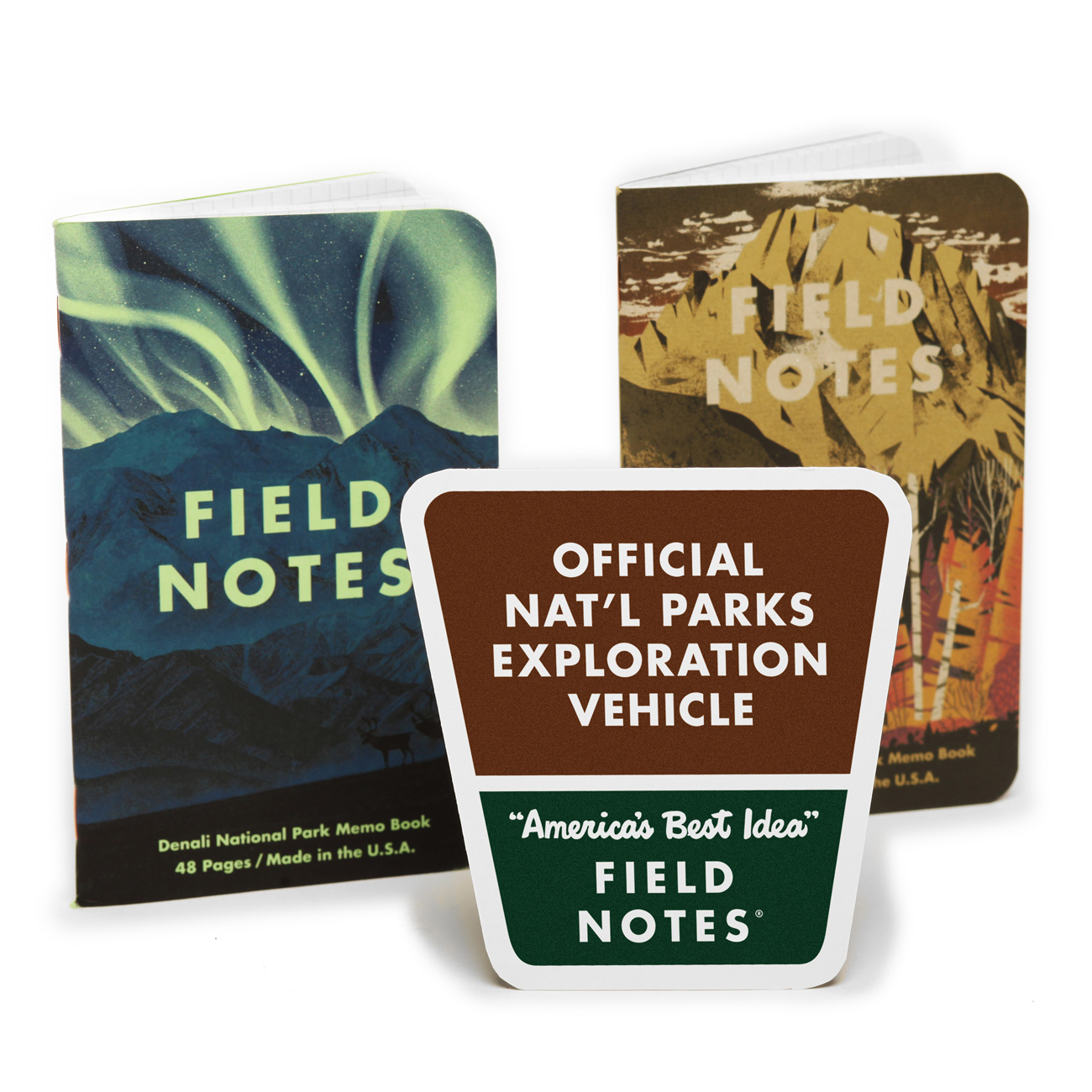 Field Notes, Auto Aufkleber, National Parks,