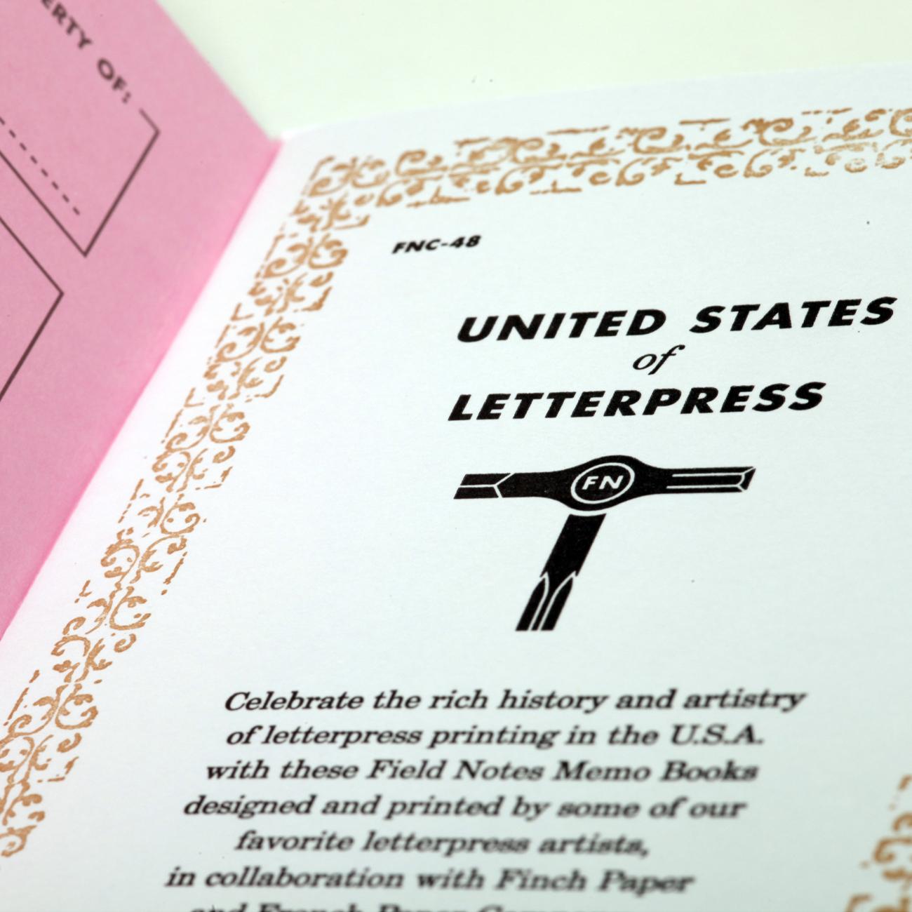 Field Notes, Innenseite Letterpress Edition, Detail,
