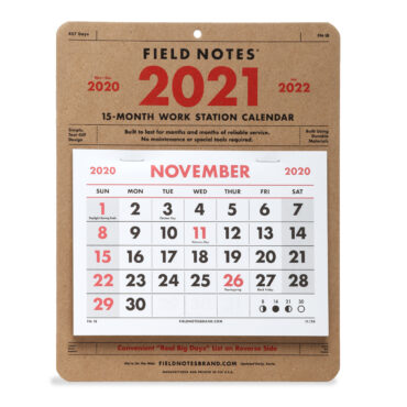 FIELD NOTES – WORK STATION CALENDAR 2021