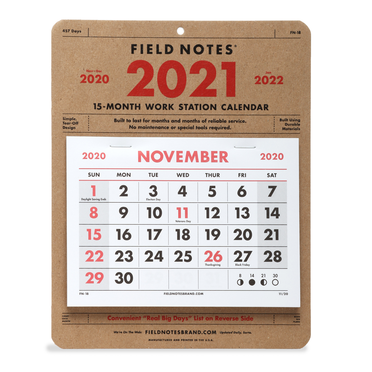 Field Notes, 2021 Work Station Calendar, Front