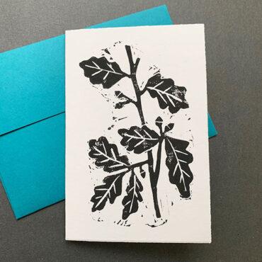 ELSIE WONG – Klappkarte EICHENLAUB-Linoldruck, handmade
