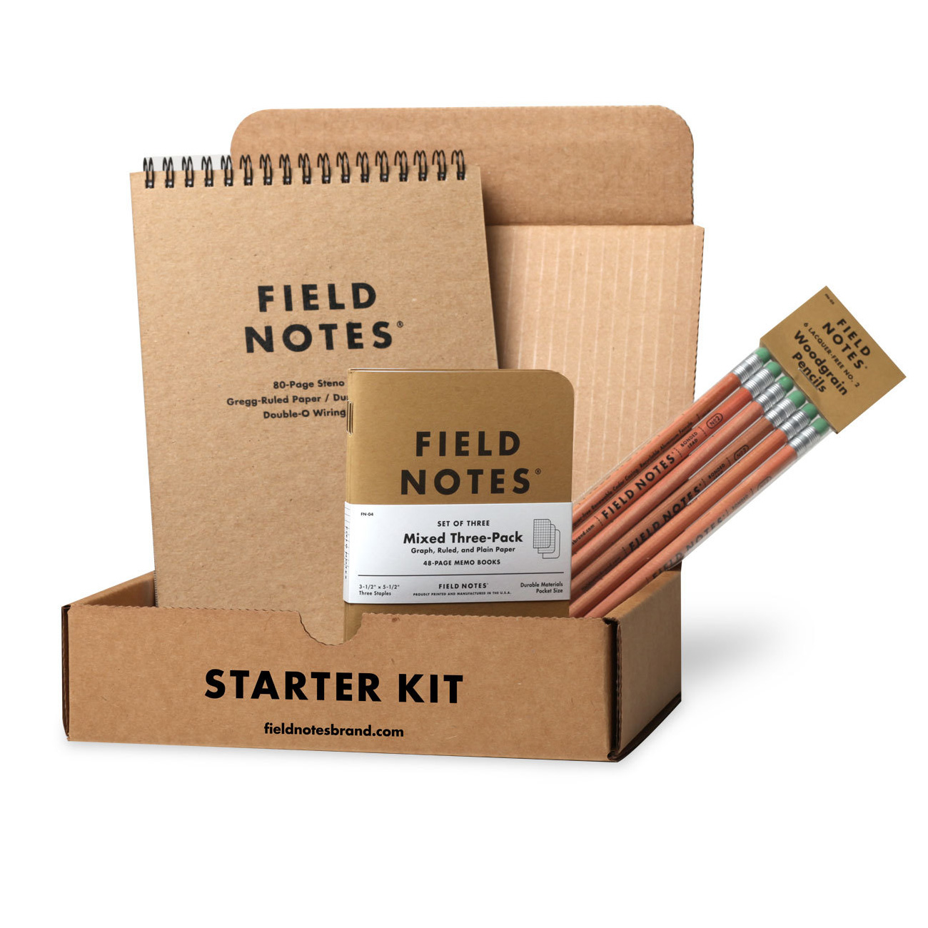 Field Notes Starter Kit, mixed Notizhefte, Stenoblock, Bleistifte,