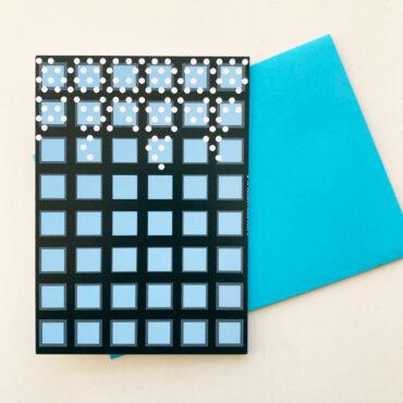 UMWERK – Klappkarte HINAUF & HINAB blau
