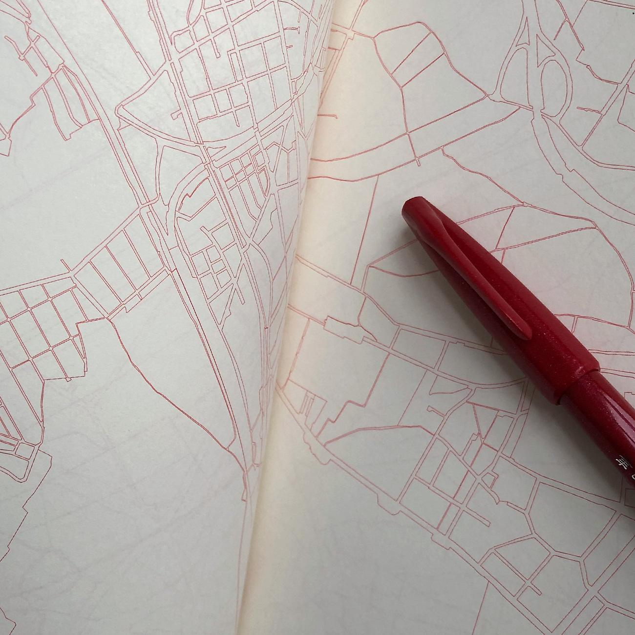 Urban Gridded Notebook, Innenansicht, Stadtplan linear eingedruckt,