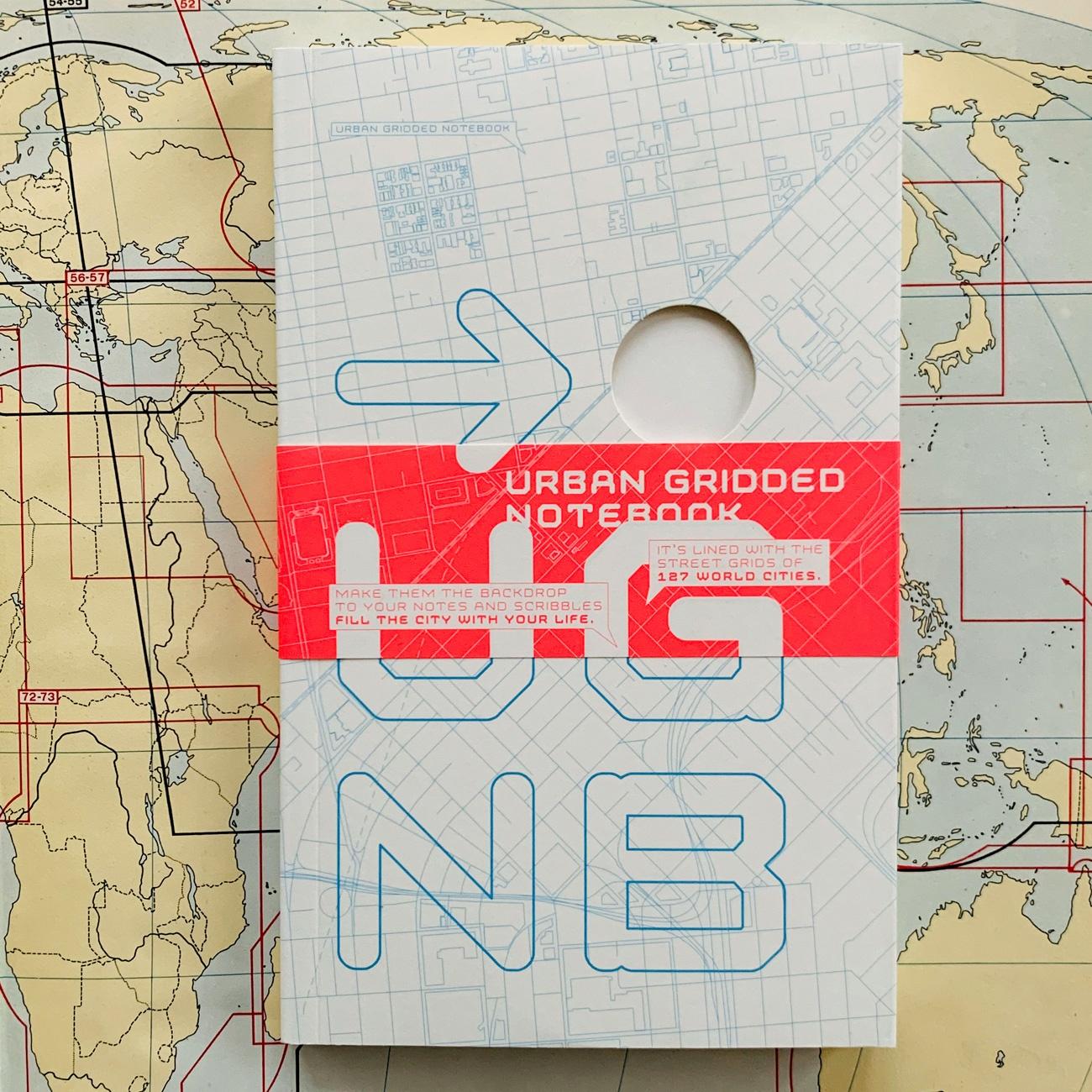 Urban Gridded Notebook, Notizbuch, feine Stadtpläne auf allen Seiten