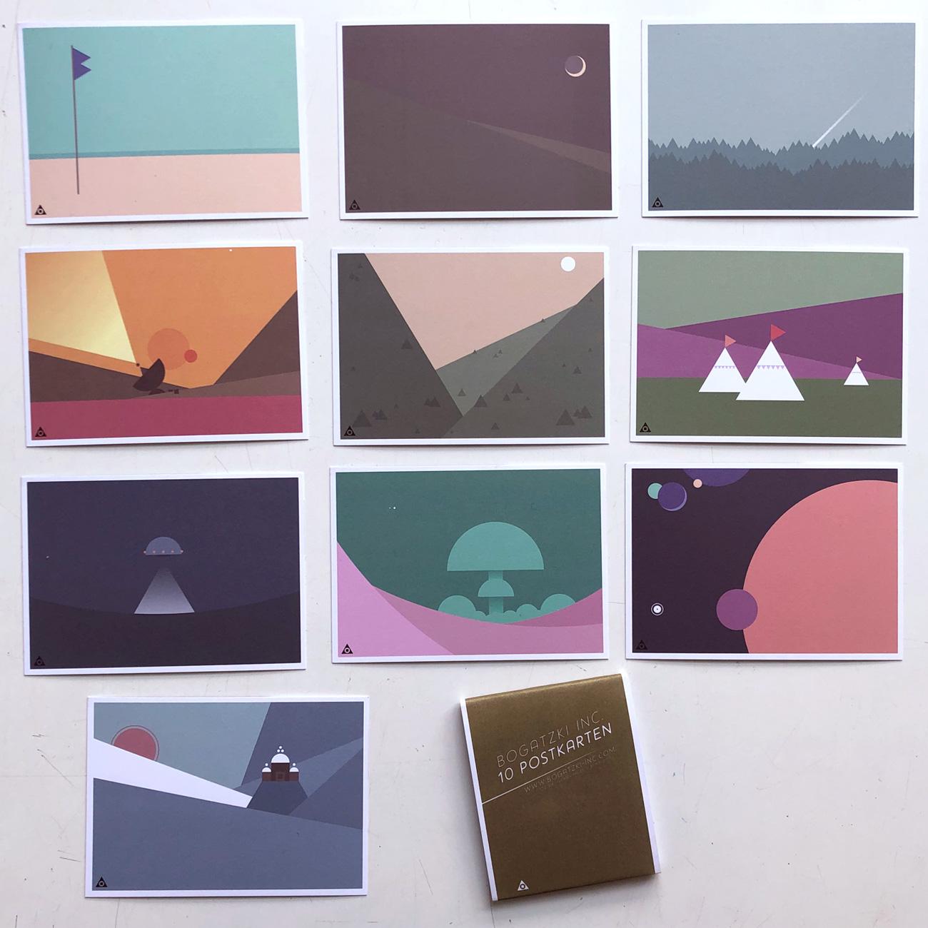 Bogatzki Inc., 10 Postkarten im Set, sphärisch