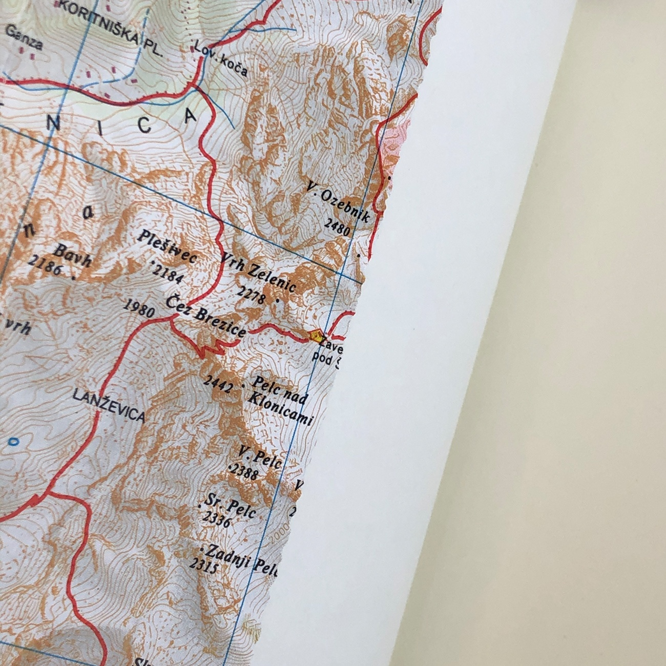 Notizbuch, Landkartenumschlag, innen, Detail,
