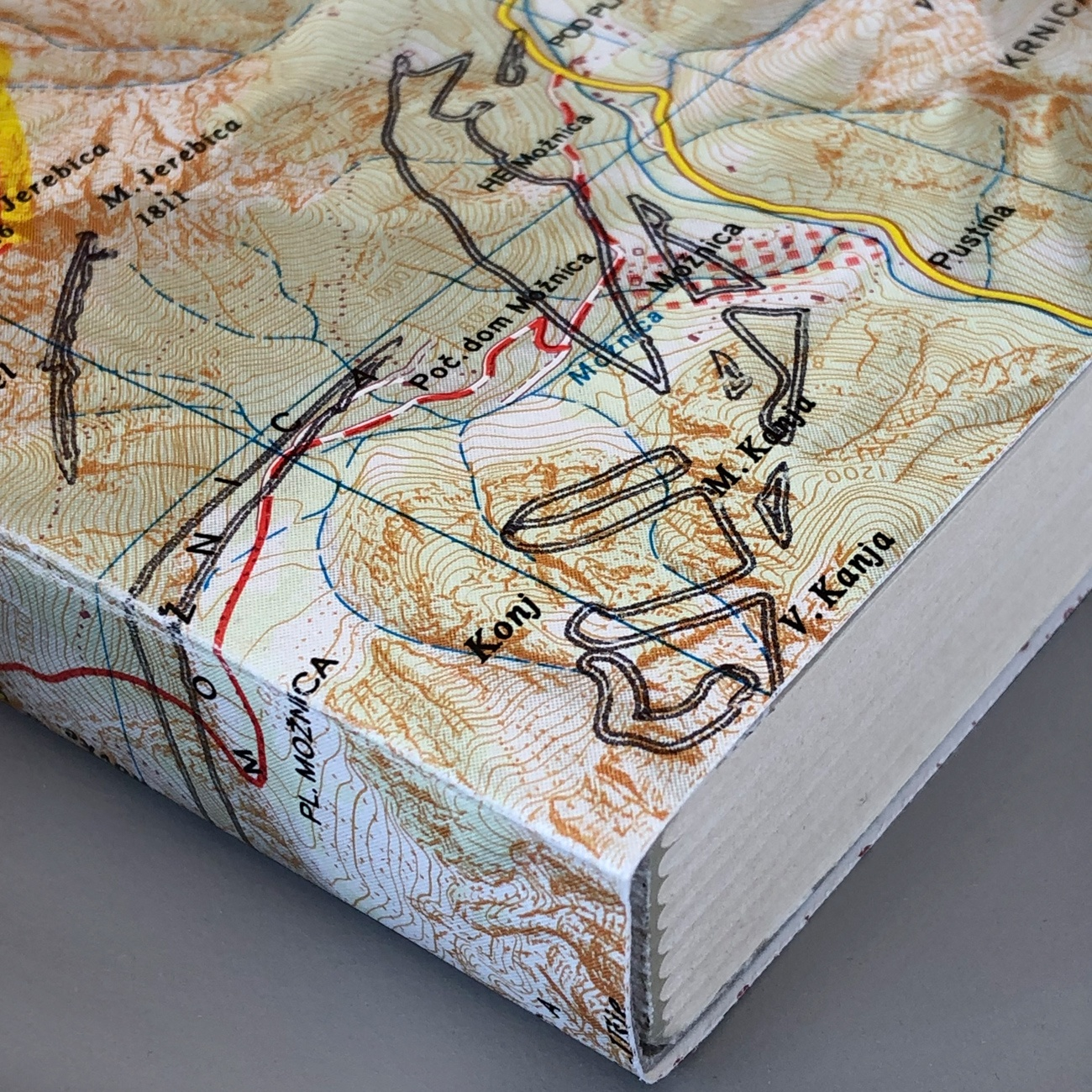 Notizbuch, Landkarte als Umschlag, 12 x 16,5 cm