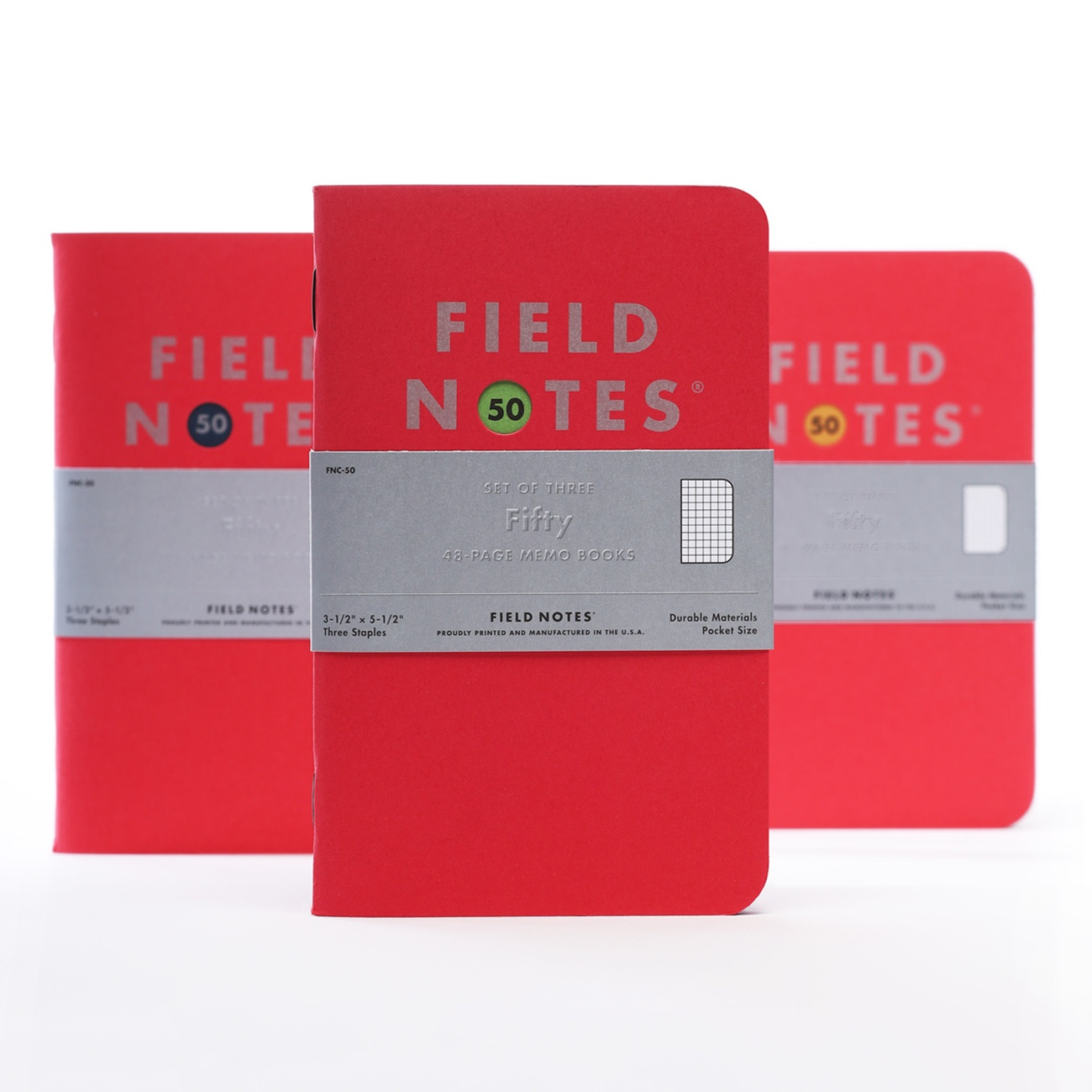 Field Notes, Fifty, 3 Notizhefte, rotes Cover, silber bedruckt,
