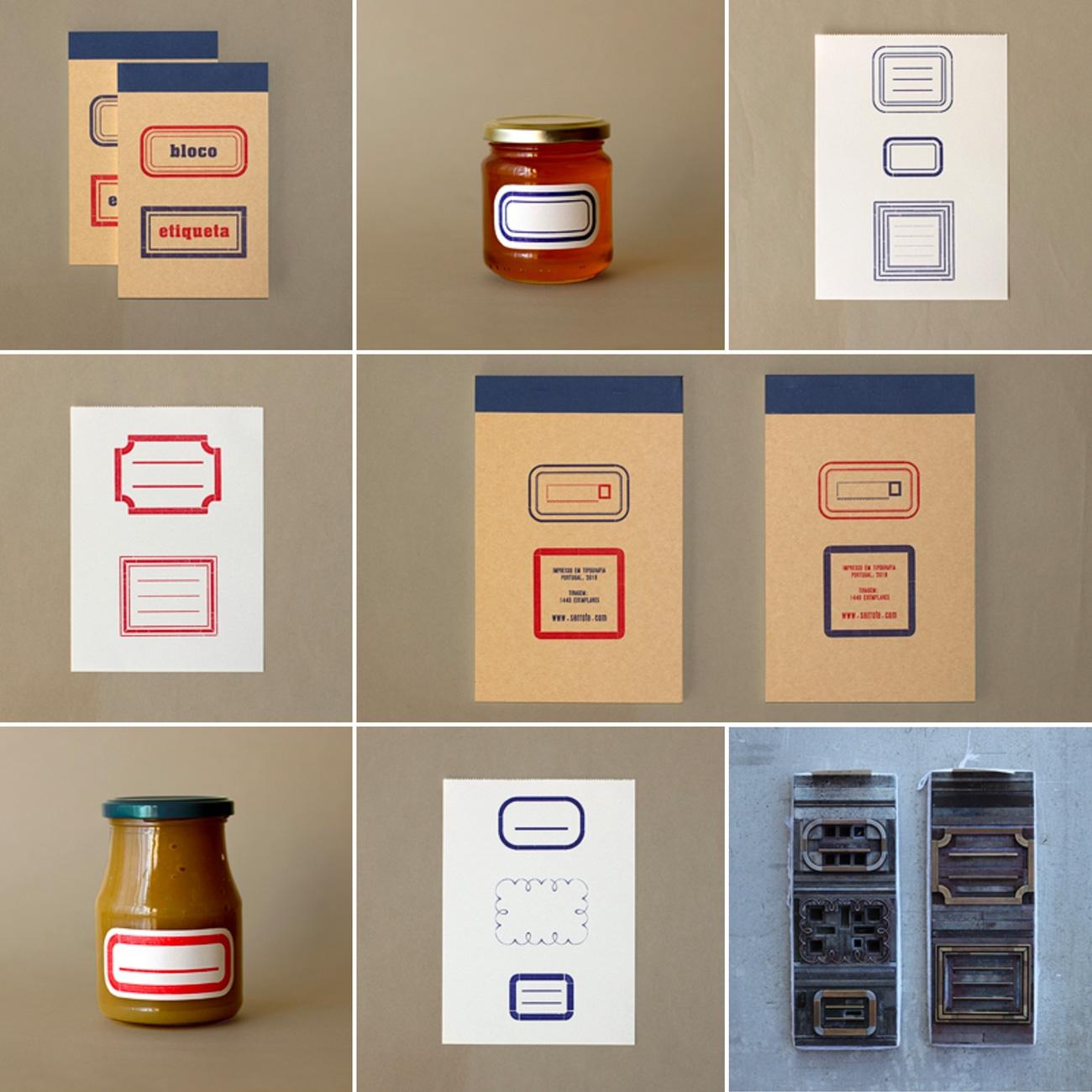 Serrote, Bloco Etiqueta, Etikettenblock, im Buchdruck,