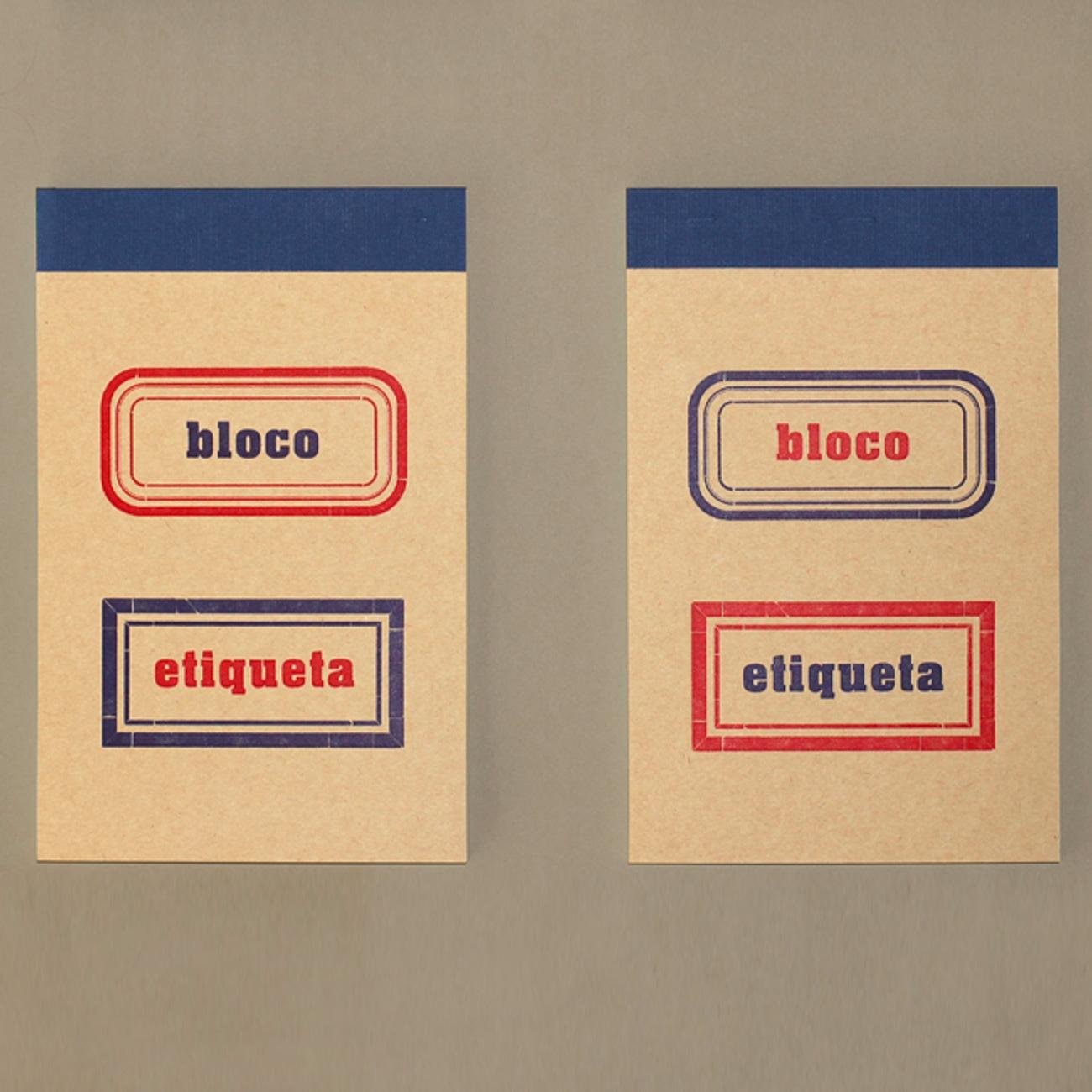 Bloco Etiqueta, Etikettenblock, rot blau, blau rot,