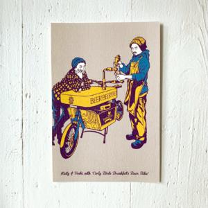 Beerbike, Illustration auf Postkarte, aus Japan, Nagoya,