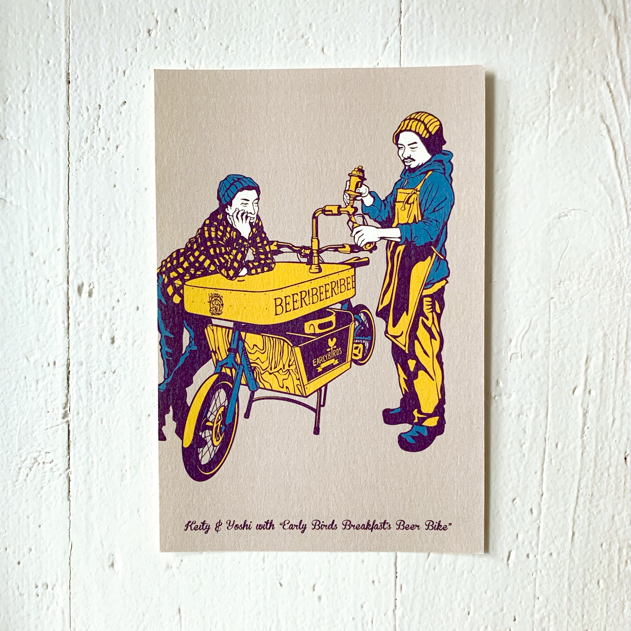 Beerbike, Illustration auf Postkarte, aus Japan, Nagoya,