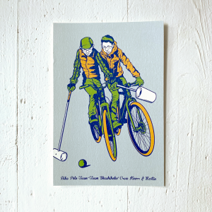 9lives illustrierte Postkarte, bikepolo, aus Japan,