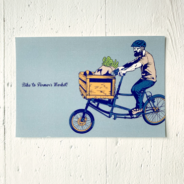 9LIVES – Postkarte BIKE TO FARMERS MARKET