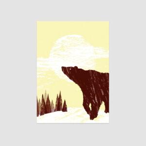Winterbär, Illustrierte Postkarte von Hummel Grafik, München, brauner Bär, Wald und Schneelandschaft,