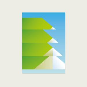 UMWERK - Postkarte grafischer Baum, grün, weiß, blau, Spitzen,