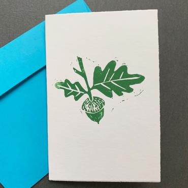 ELSIE WONG – Klappkarte EICHELN-Linoldruck, handmade