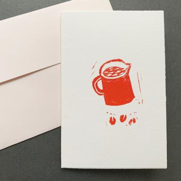 ELSIE WONG – Klappkarte KAFFEE-Linoldruck, handmade