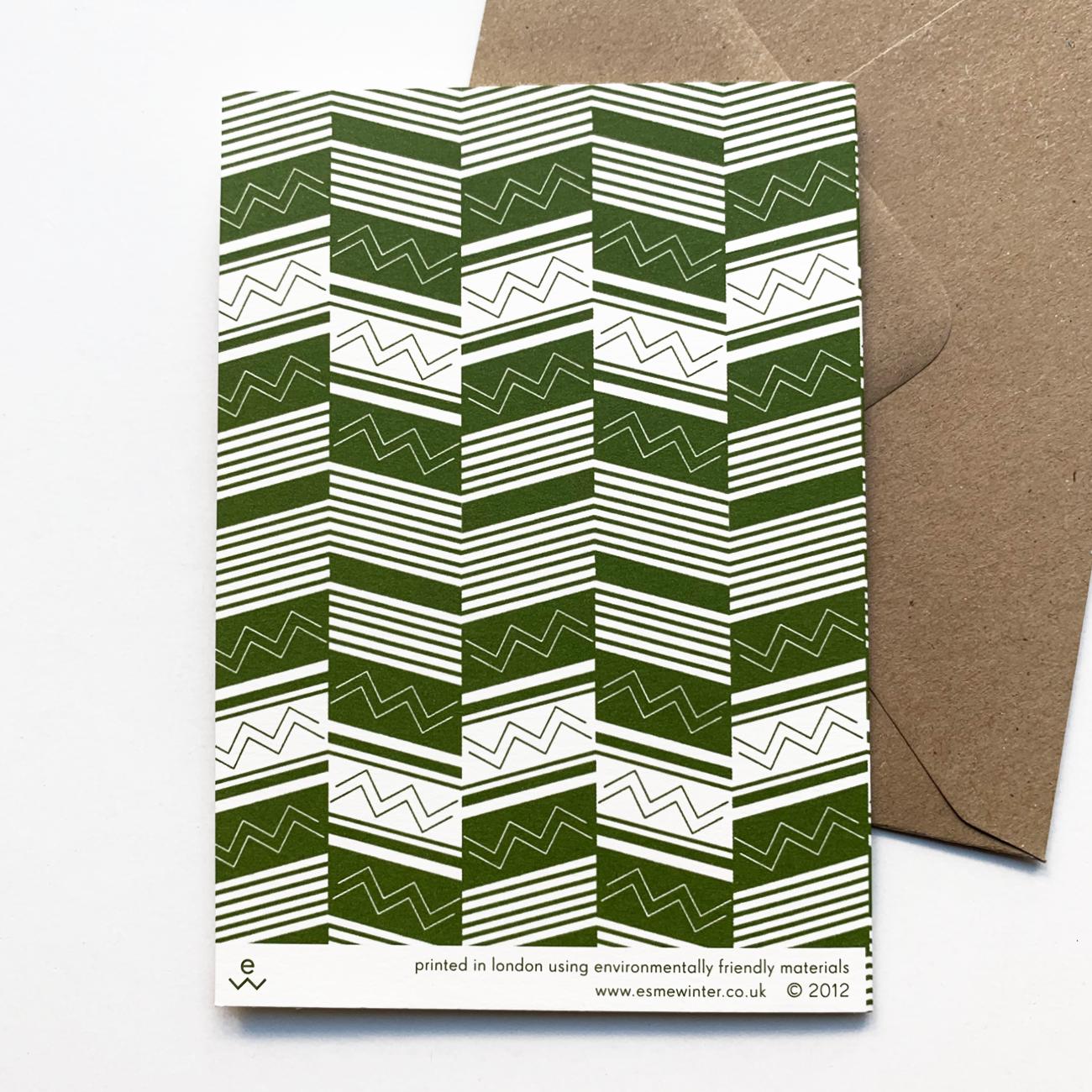 Esme Winter Klappkarte, Muster in Grün, mit Kuvert