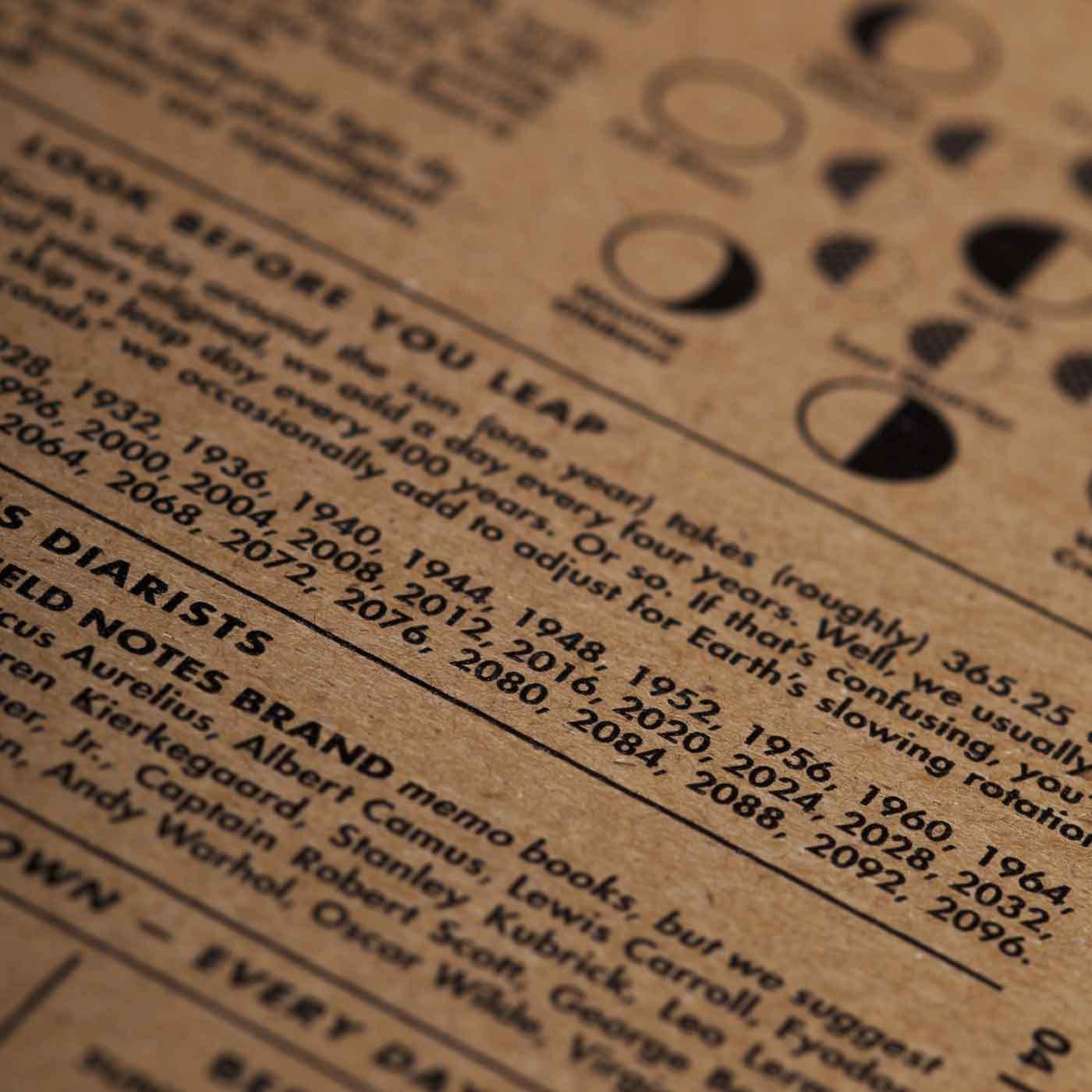 Mondphasen, Infos auf Innenseite, 56-Week Planner, Field Notes,