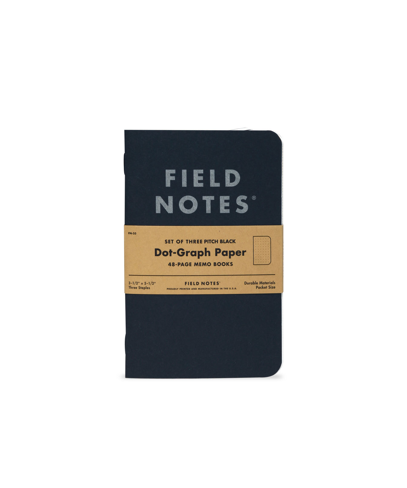 Field Notes, Pitch Black, schwarzer Einband, Notizhefte, 3er-Pack,