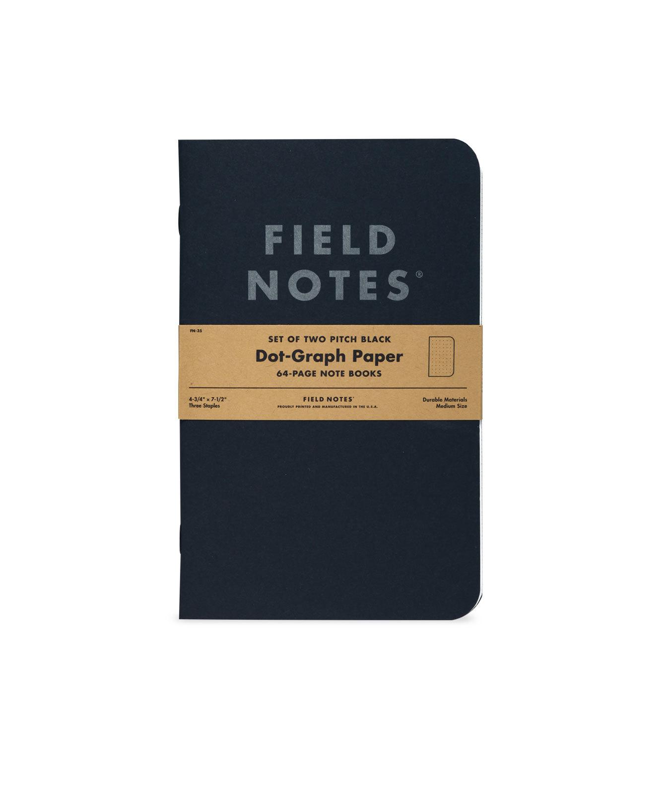 Field Notes, Pitch Black, doted, Notizhefte, Zweierpack,