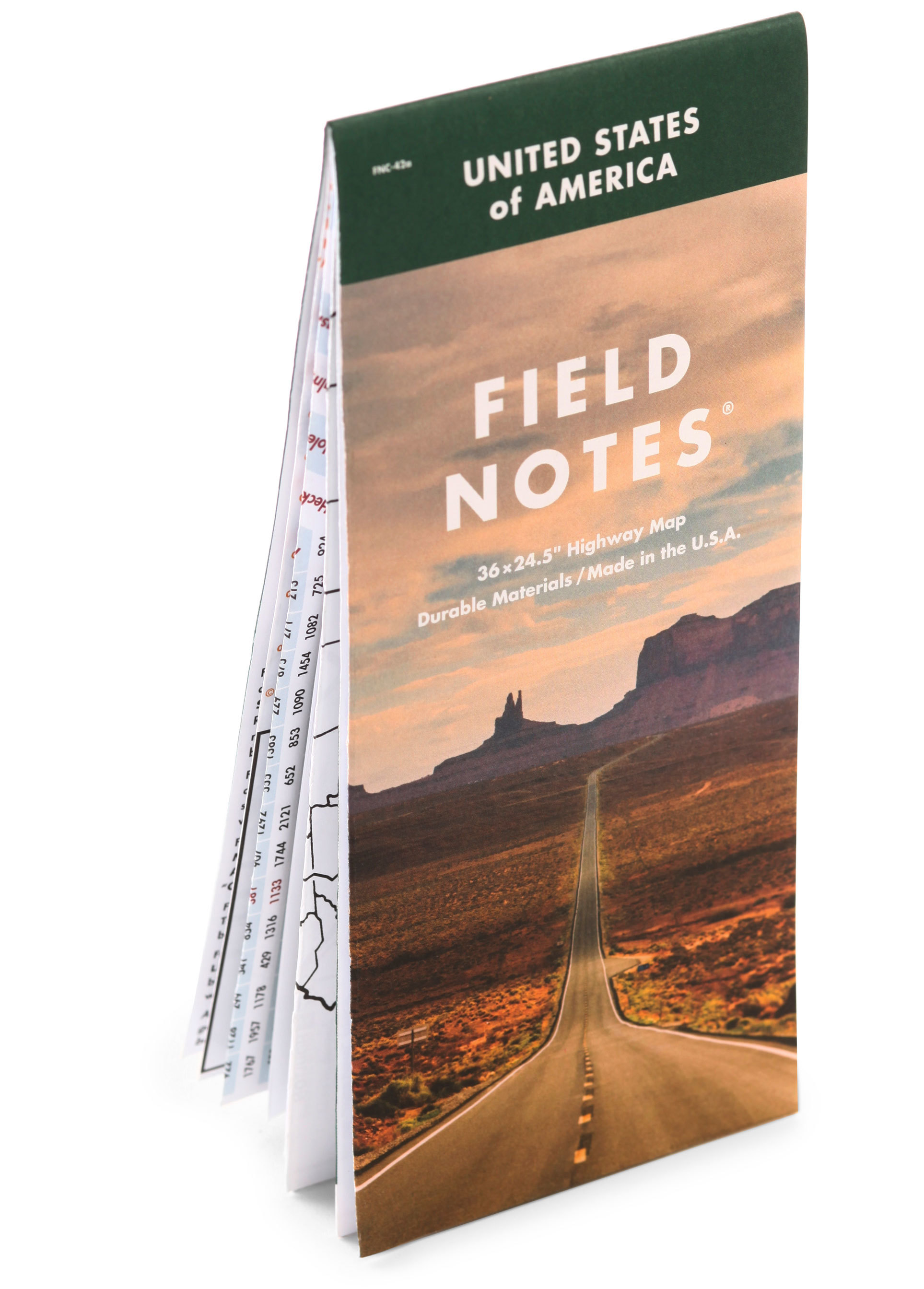 Field Notes, Highway Map, Landkarte, USA, Interstates and Highways,