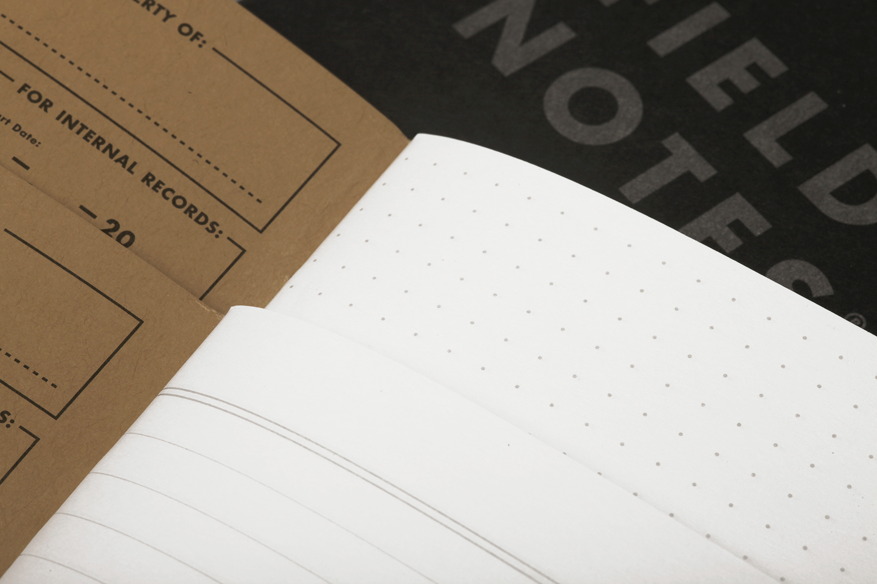 Pitch Black von Field Notes, innen, Punktraster, Linien, Notizhefte,