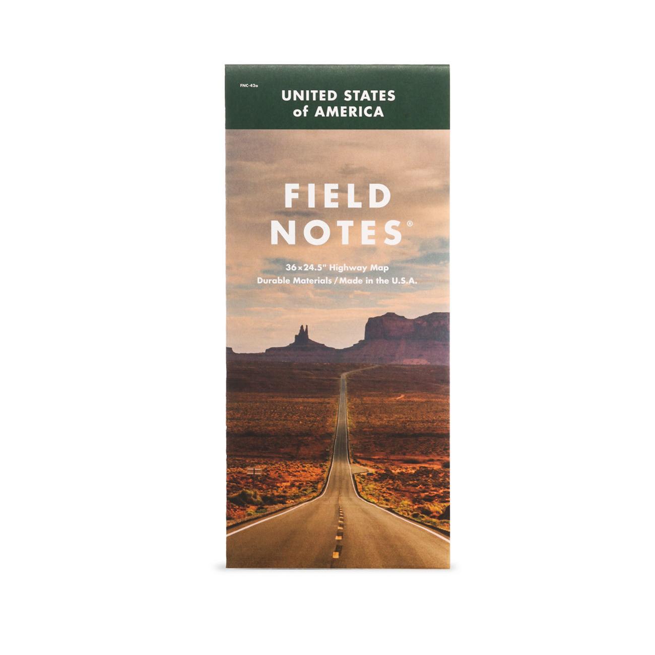 Field Notes, Highway Map, Straßenkarte der USA,