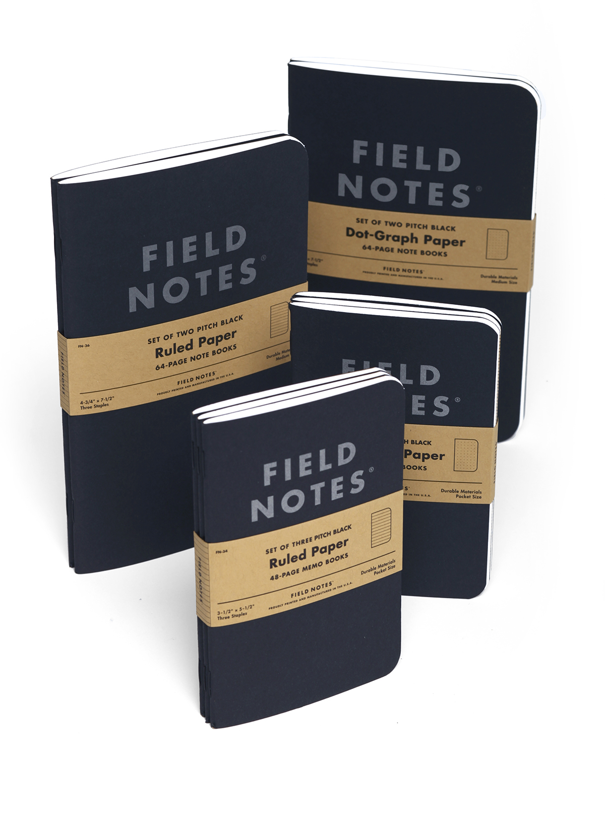 Field Notes, Pitch Black, Notizhefte, zwei Größen, schwarzes Cover,