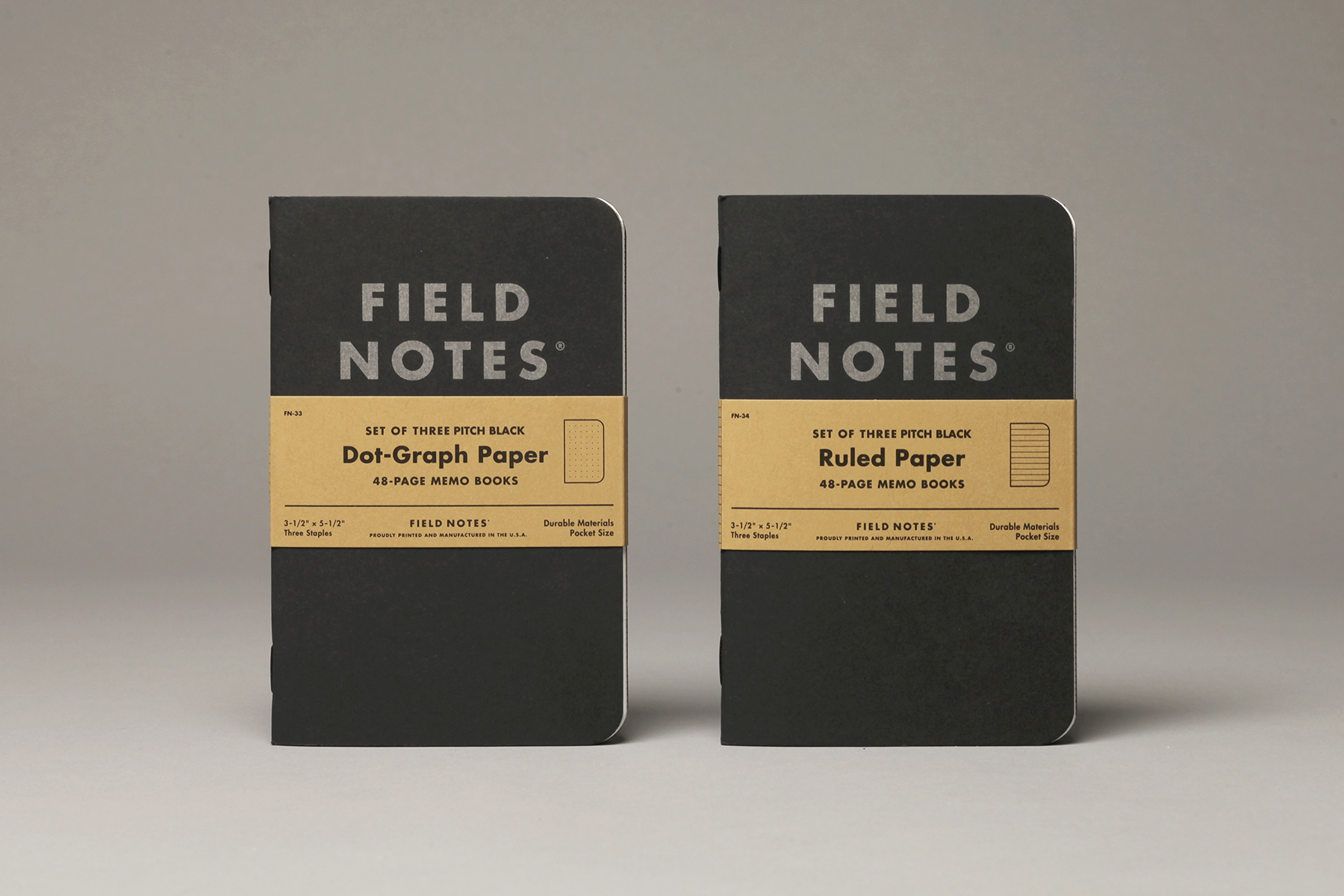 Field Notes, Pitch Black, Notizhefte, schwarzer Einband, zwei Lineaturen,