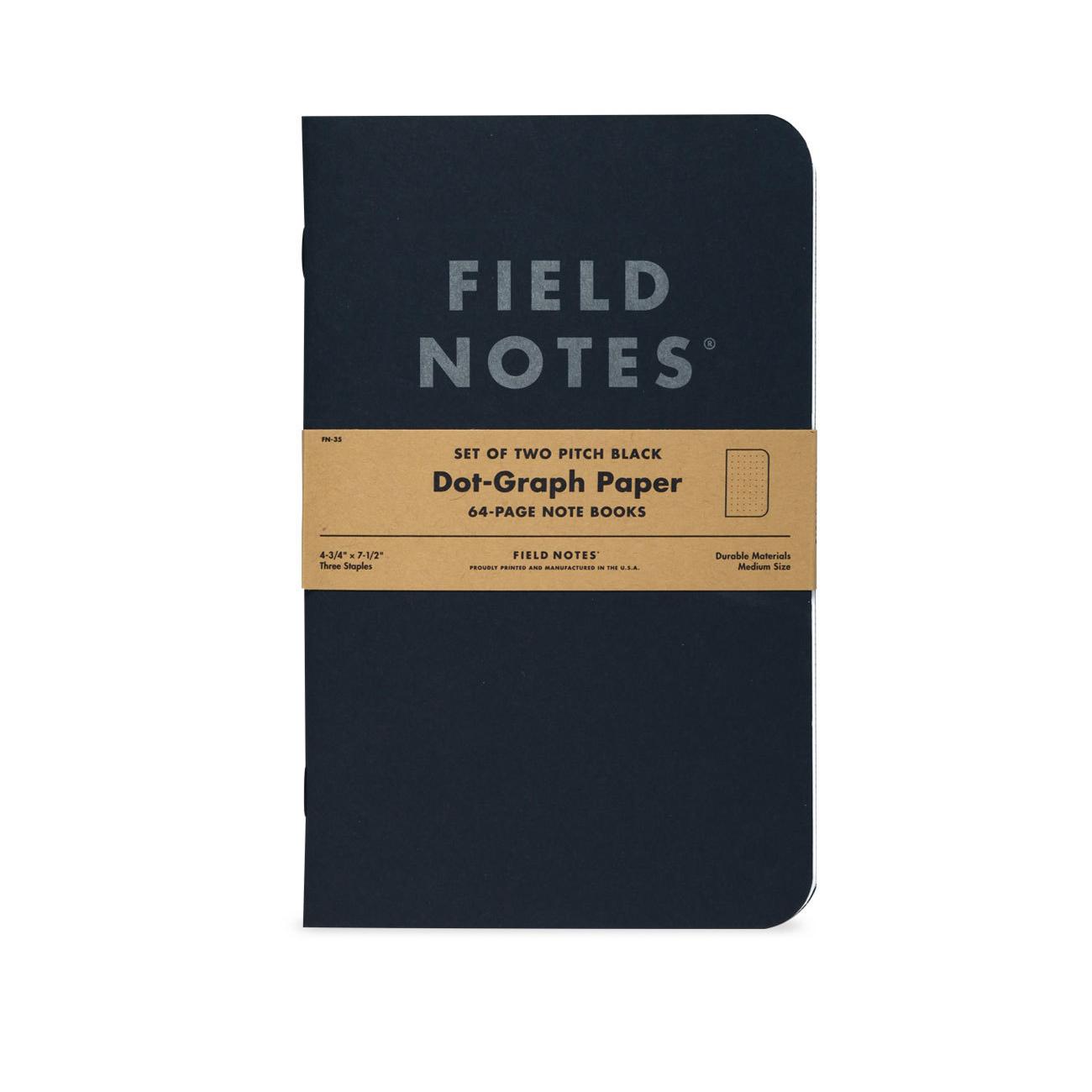 Field Notes, Pitch Black, 2er-Set, Notizbücher, schwarz, silbern,