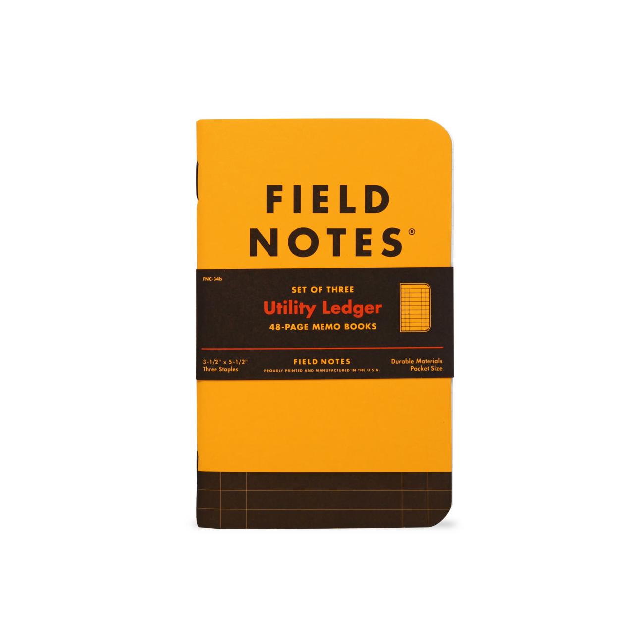 Field Notes, Utility Edition, Ledger, Notizhefte, gelb und schwarz,