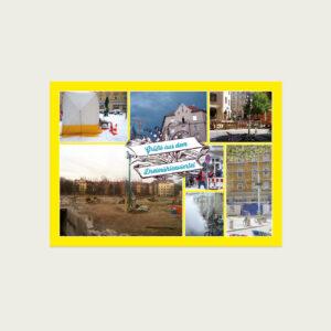 Dreimühlenviertel auf Postkarte, gelb mit Fotos
