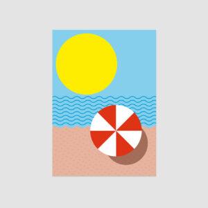 Strandpostkarte, grafisch, illustriert, bunt, A6