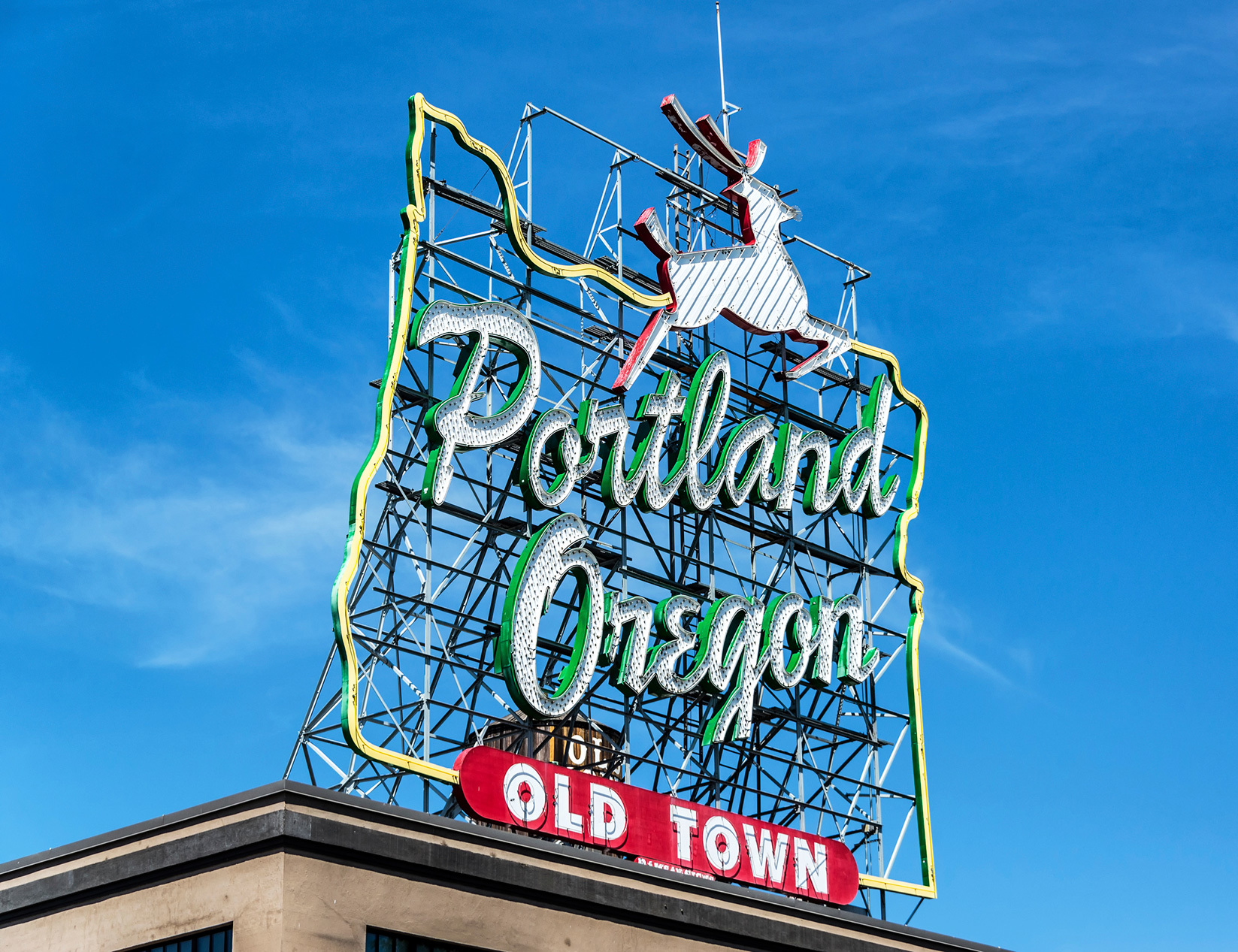 Portland, Oregon, Old Town, Werbetafel, Leuchtreklame,